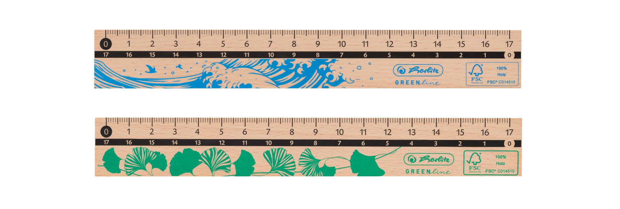 Herlitz Lineal 17cm, aus Holz, FSC 100%