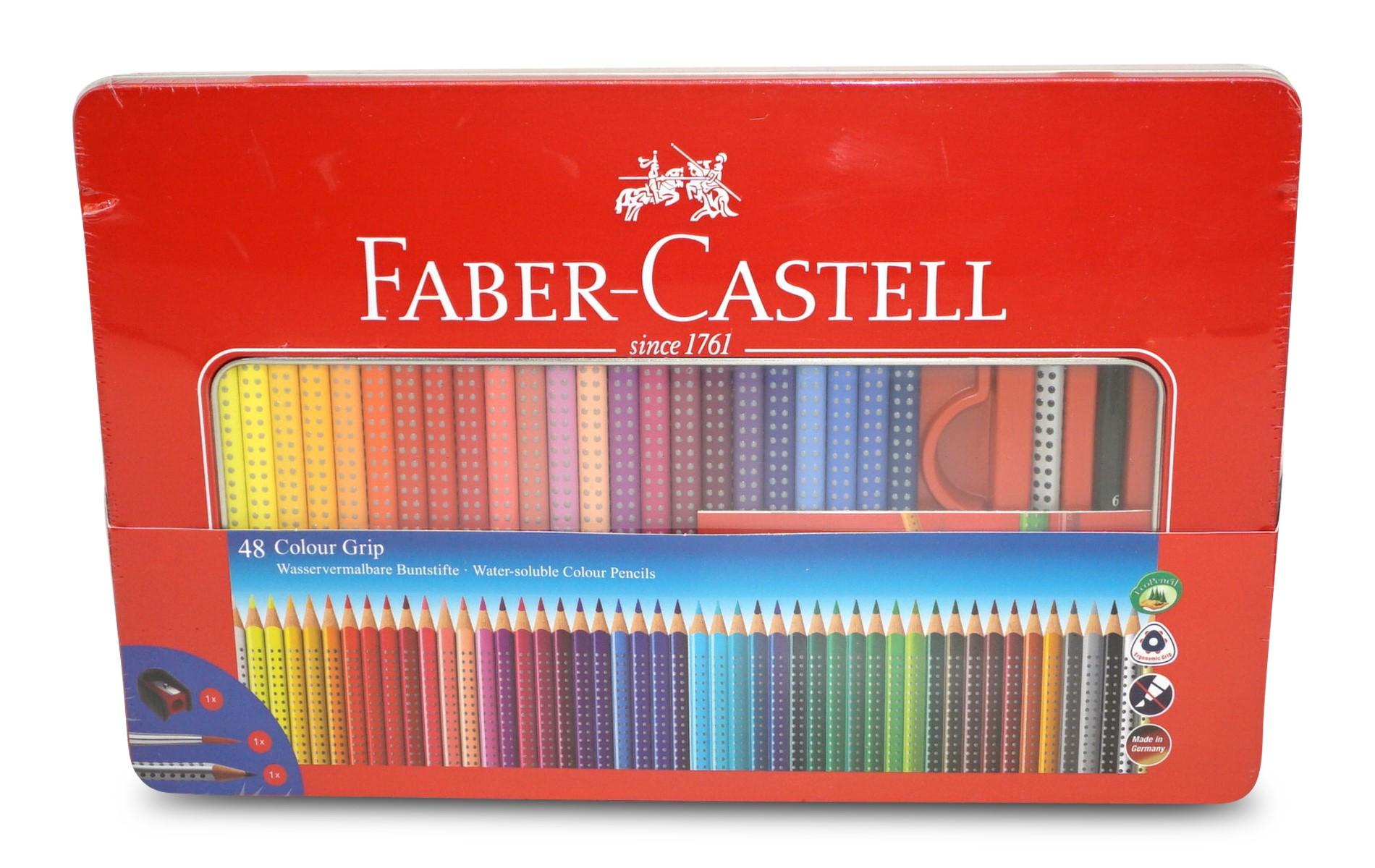 Faber-Castell Colour Grip Buntstifte 48 Farben im Metalletui inkl. Spitzer, Pinsel und Grip