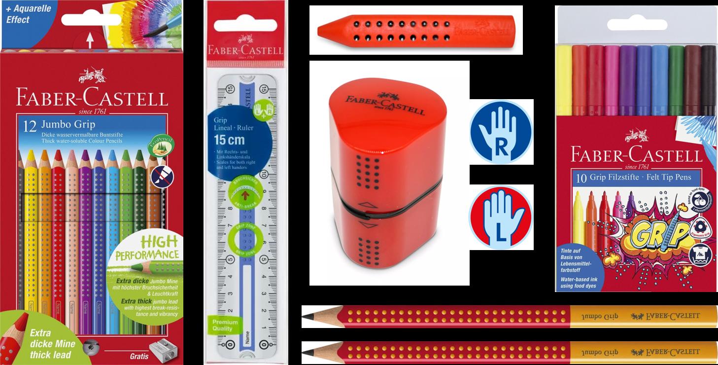 Schreibset Faber-Castell Grip für Rechts- und Linkshänder, rot