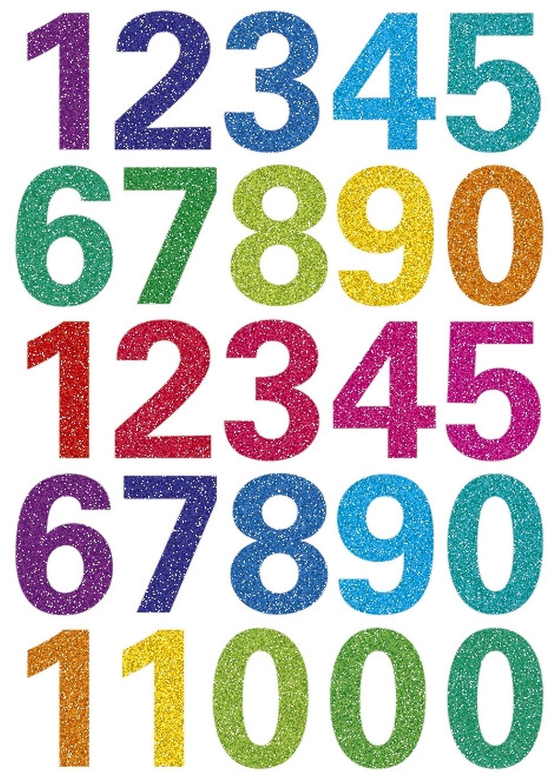 Herma  Zahlen Aufkleber, Glitzer