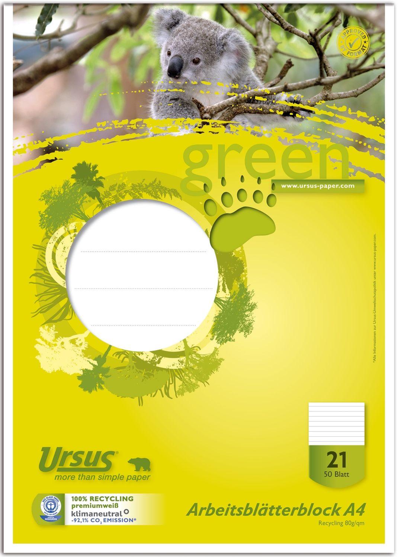 Ursus Green Arbeitsblätterblock