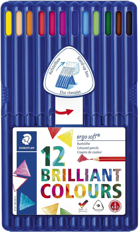 Staedtler ergosoft 12 Buntstifte, dreieckig, aufstellbare Box