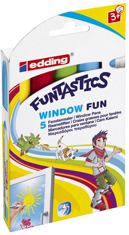 edding Funtastics Fensterstifte, 5er Packung