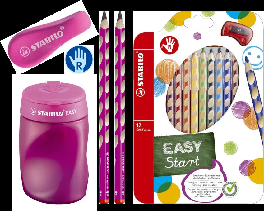 Schreibset Stabilo für Rechtshänder, pink