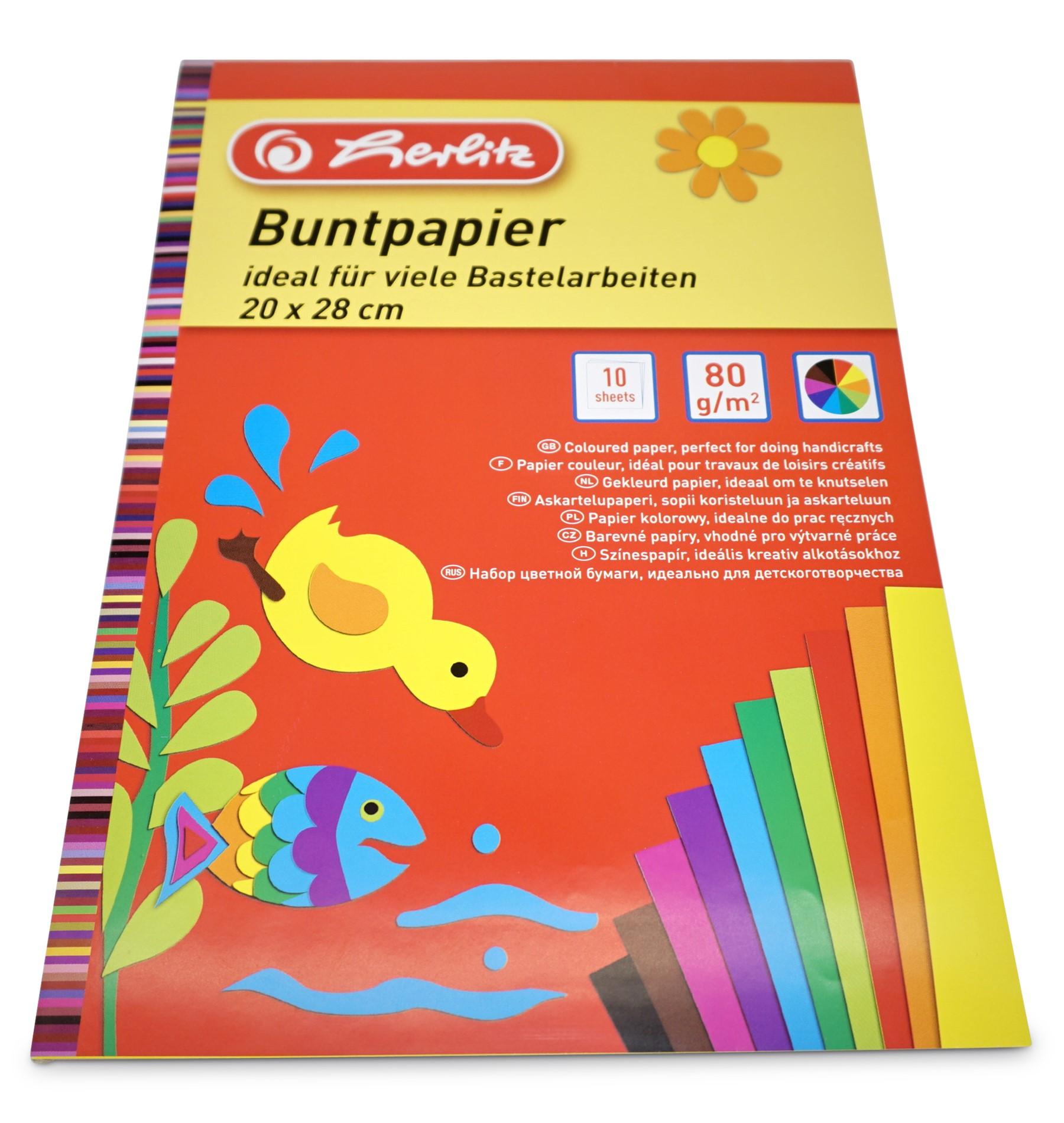 Herlitz  Buntpapier, ungummiert, 10 Blatt