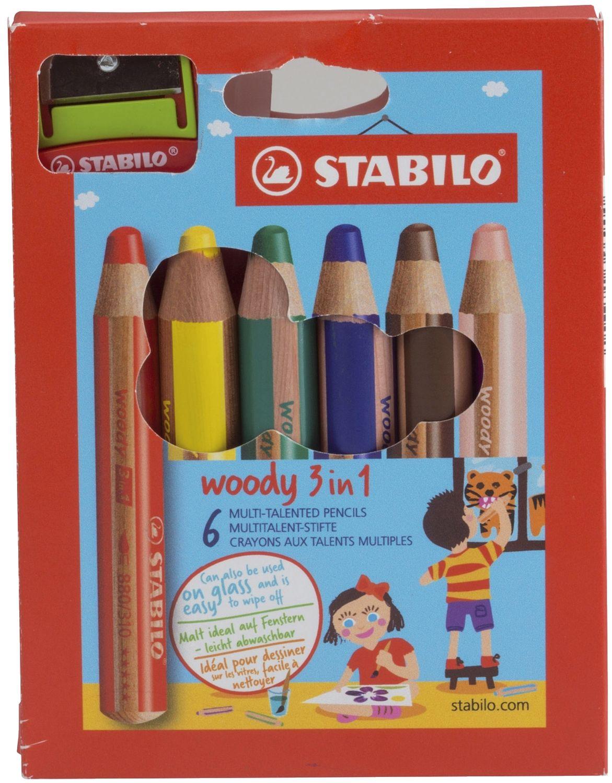 Stabilo woody 6 Farbstifte, extra dick, inklusive Spitzer