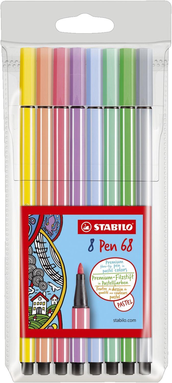Stabilo Pen 68 Fasermaler, 8er Kunststoff-Etui