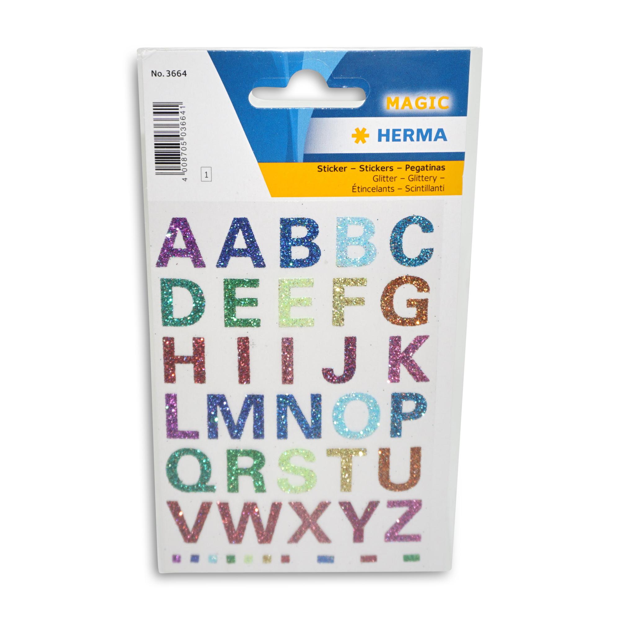 Herma  Buchstaben Aufkleber, glitzernd