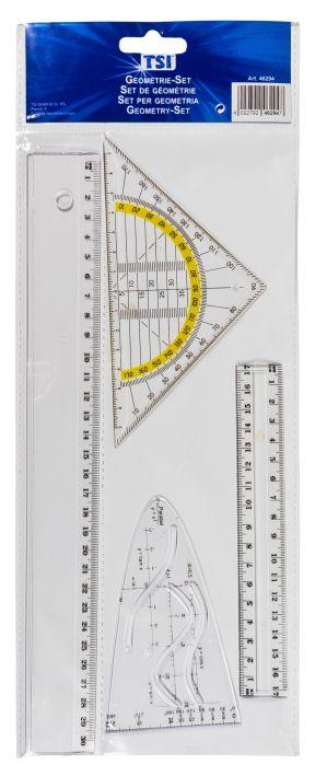 TSI  Geometrie-Set, 4-teilig: Geodreieck, zwei Lineale, Parabel