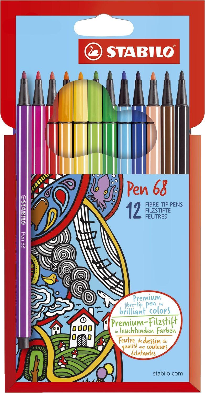 Stabilo Pen 68 Fasermaler, 12 Farben
