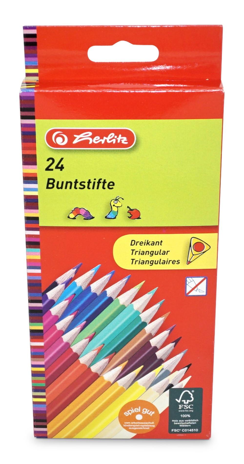 Herlitz  Buntstifte dreikant, 24er-Packung