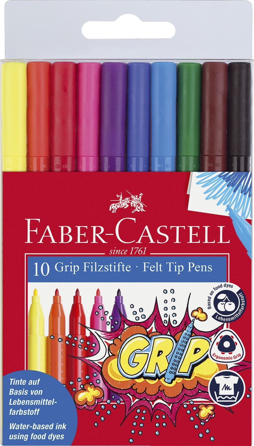 Faber-Castell Colour Grip Filzstifte, 10er Etui