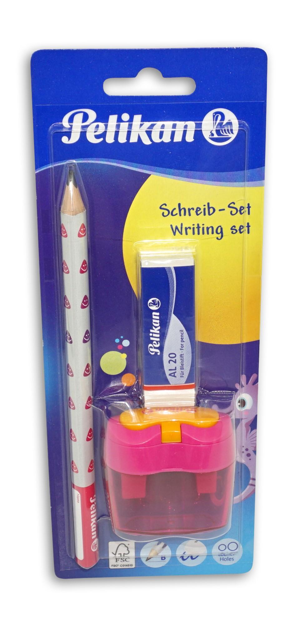 Pelikan Jumbo Bleistift Starterset, inklusive Dosenanspitzer und Radierer