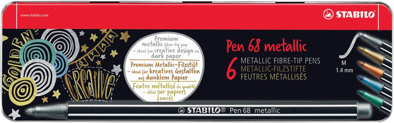 Stabilo Pen 68 metallic Fasermaler, 6er Pack im Metalletui