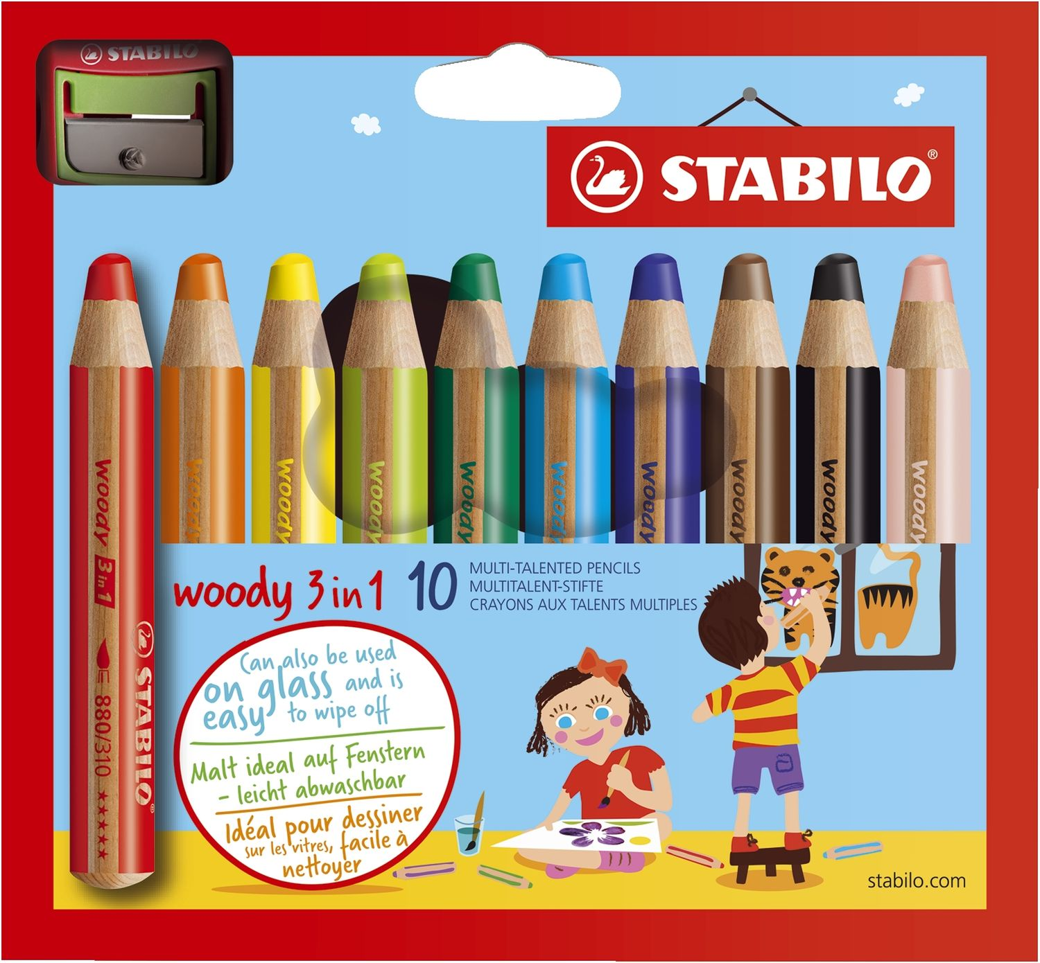 Stabilo woody Multitalentstift, 3 in 1, 10er Karton-Etui mit Spitzer