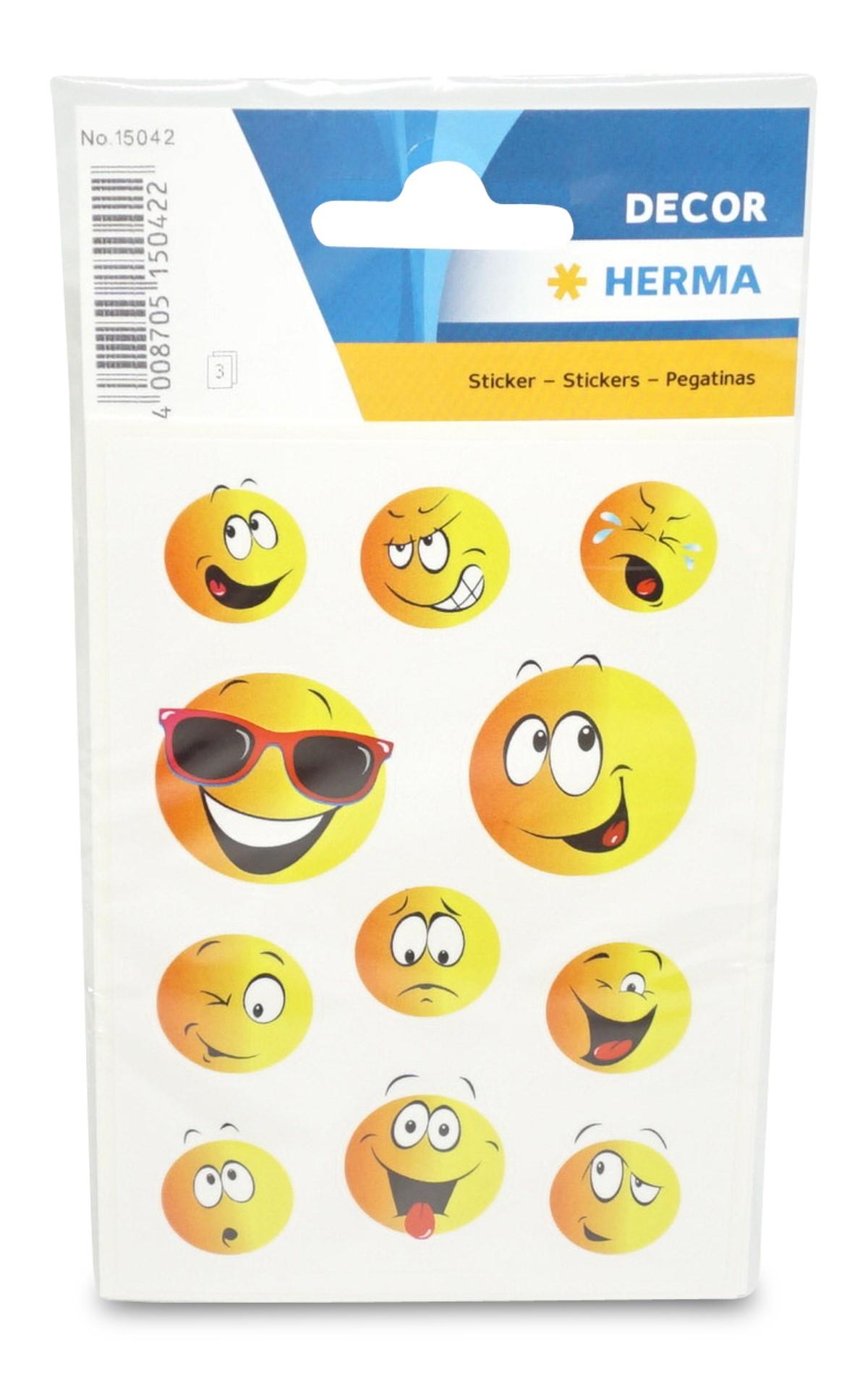 Herma  3 Bögen Smiley Aufkleber