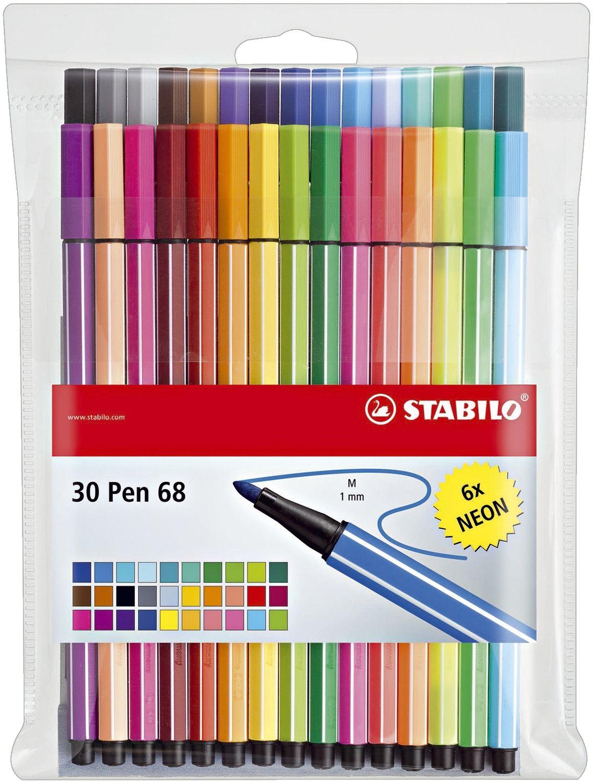 Stabilo Pen 68 Fasermaler, 30er Kunststoff-Etui
