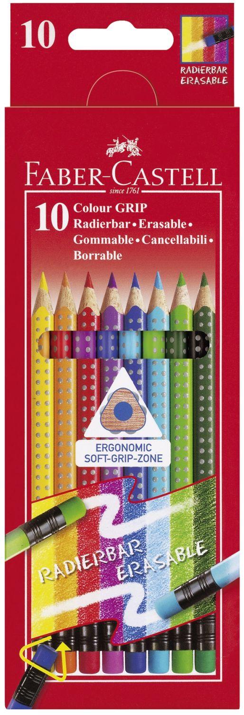 Faber-Castell Colour Grip Buntstifte, radierbar, 10 Stück