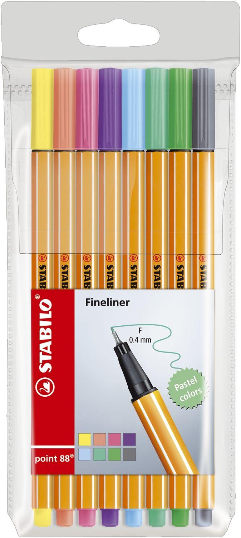 Stabilo point 88 Fineliner, 8er Kunststoff-Etui
