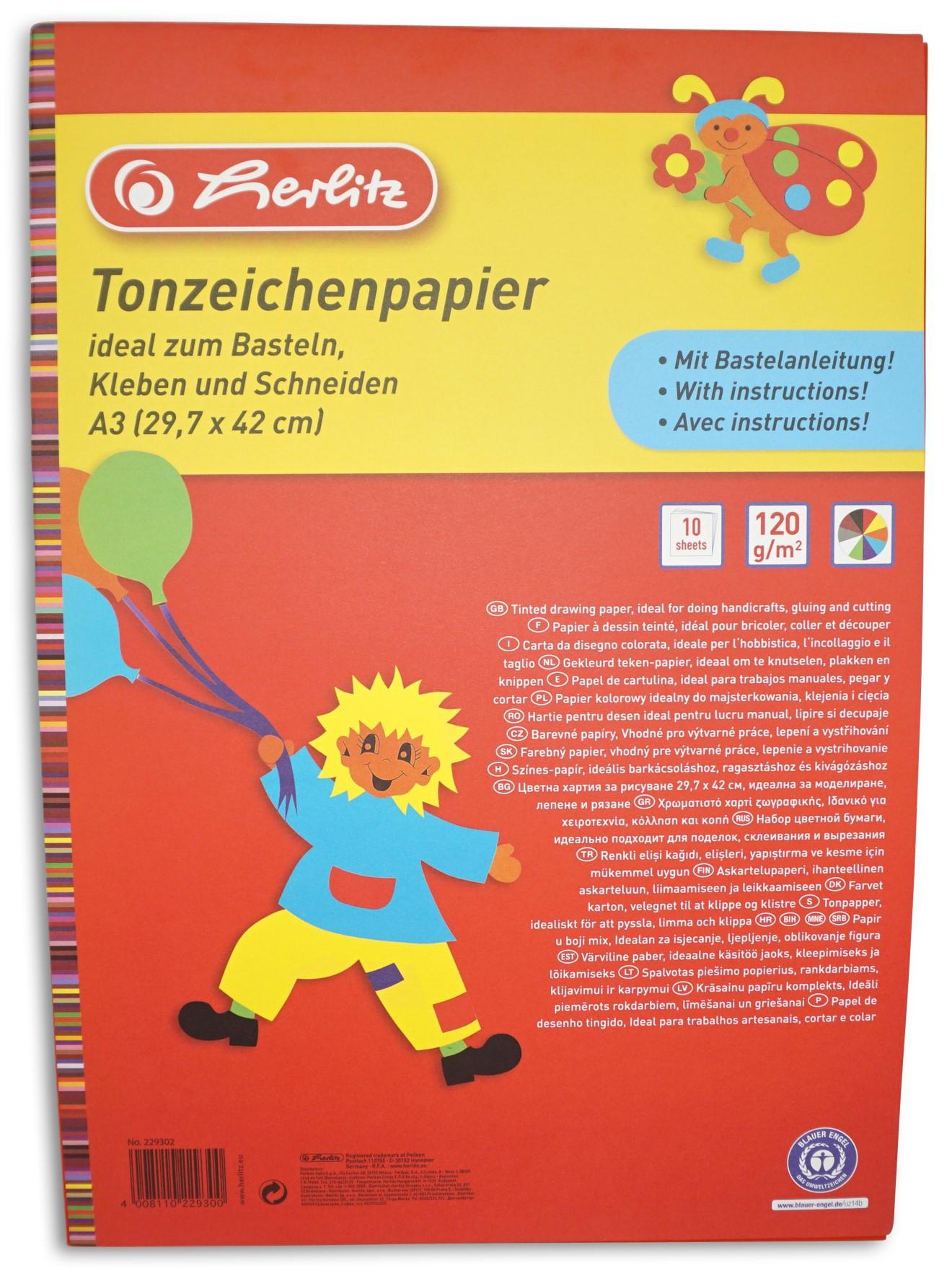 Herlitz  Tonzeichenkarton, 10 Blatt