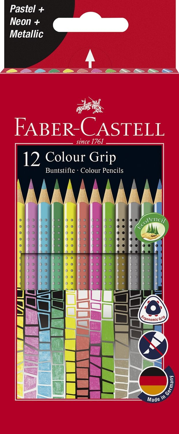 Faber-Castell Colour Grip Buntstifte, 12 Sonderfarben
