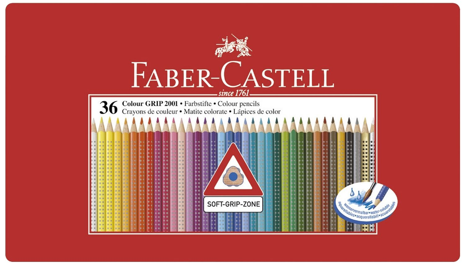 Faber-Castell Colour Grip Buntstifte 36 Farben im Metalletui