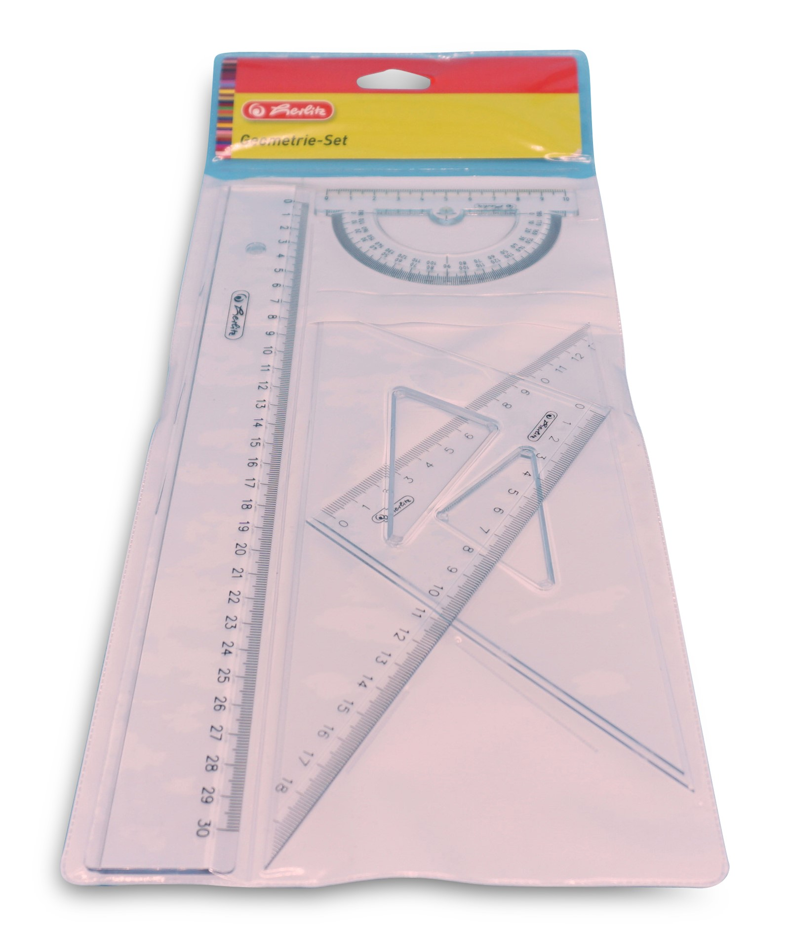 Herlitz  Lineal-Set, 4-teilig:  Lineal 30 cm, Winkelmesser, 2 Dreiecke