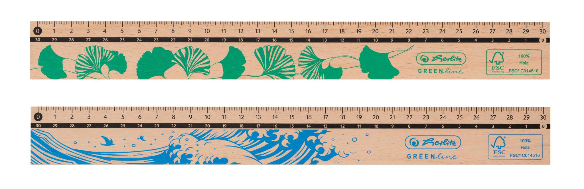 Herlitz Lineal 30cm, aus Holz, FSC 100%