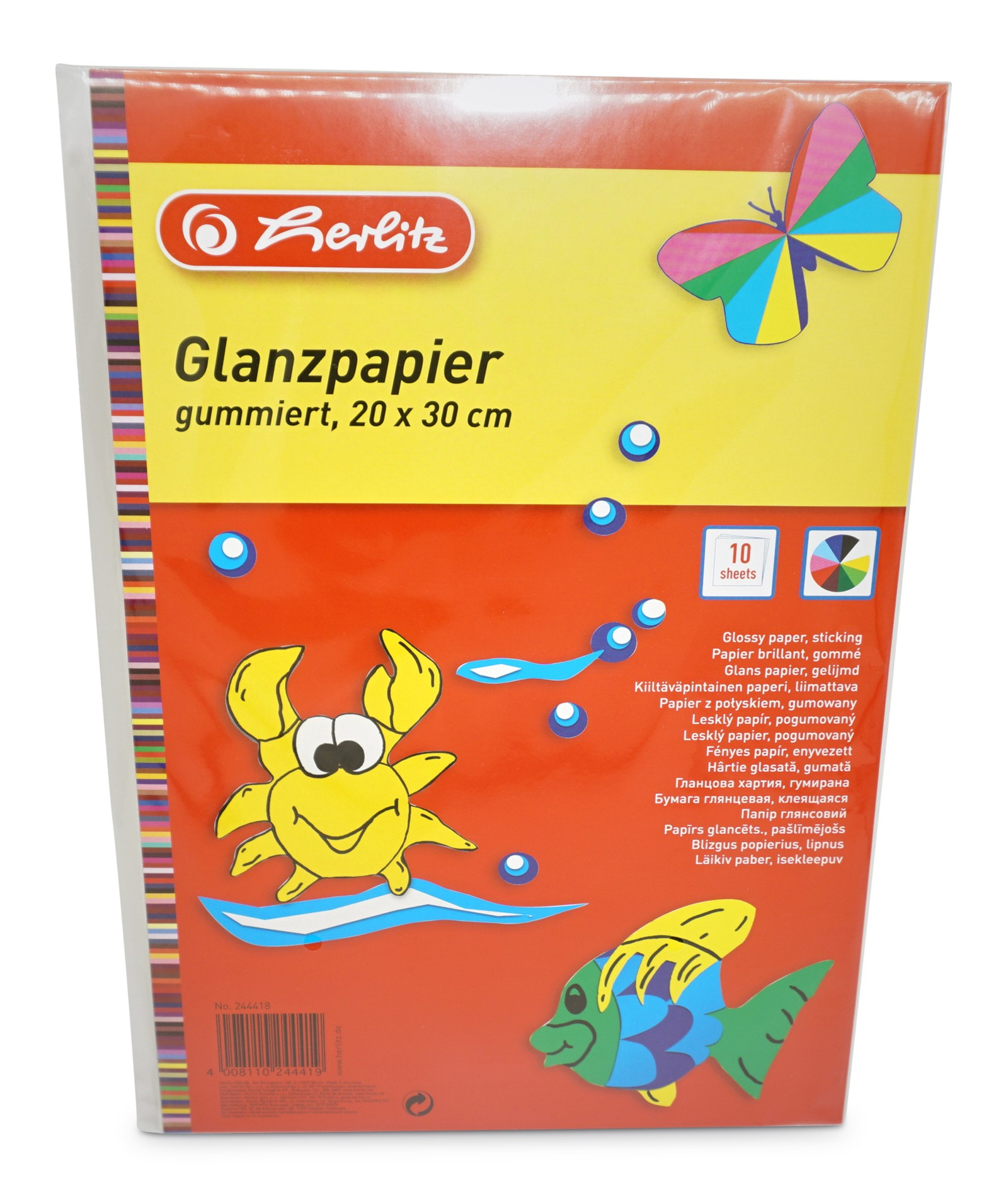 Herlitz  Glanzpapier gummiert, 10 Blatt