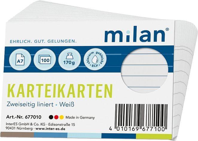 Milan  Karteikarten, 100 Stück