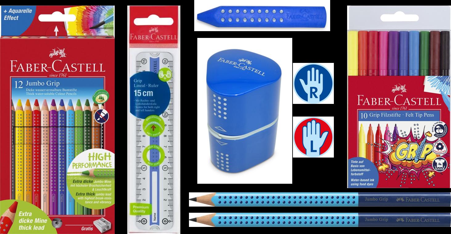 Schreibset Faber-Castell Grip für Rechts- und Linkshänder, blau