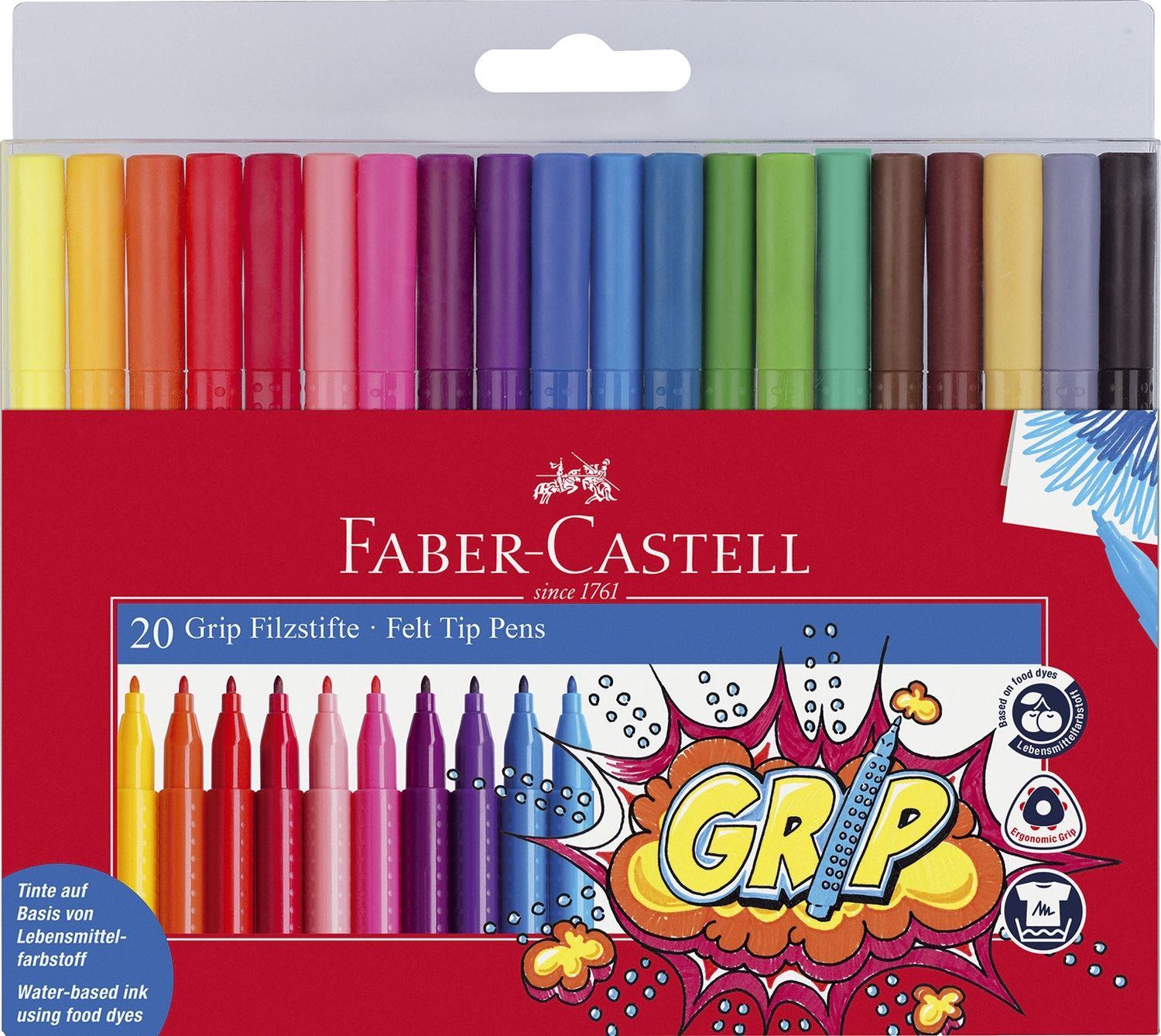 Faber-Castell Colour Grip Filzstifte, 20er Etui