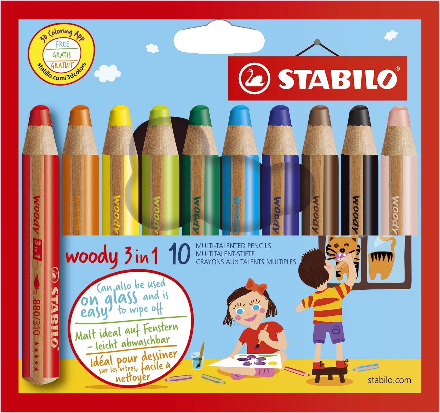 Stabilo woody Multitalentstift, 3 in 1, 10er Karton-Etui