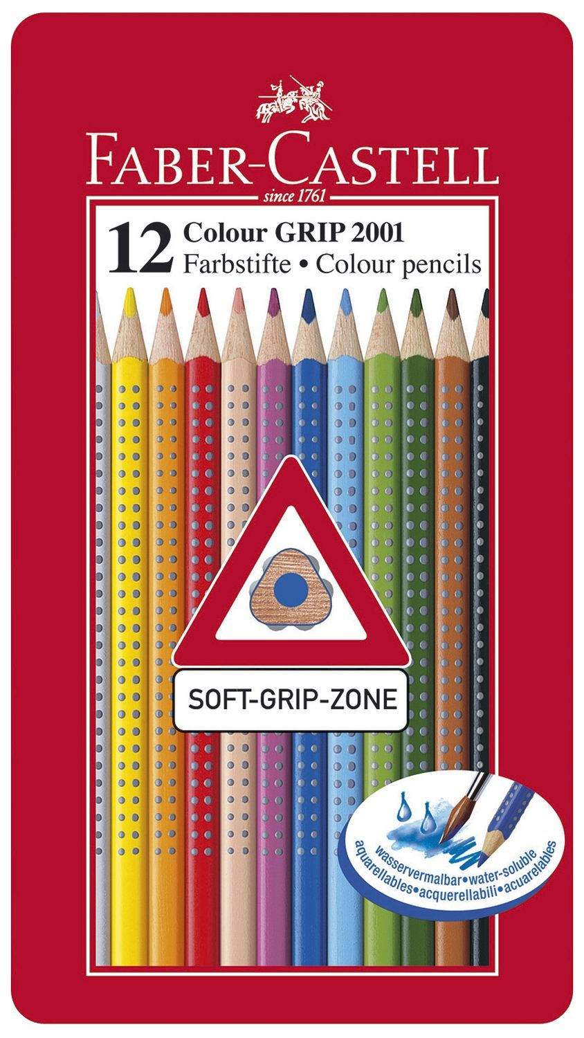 Faber-Castell Colour Grip Buntstifte 12 Farben im Metalletui
