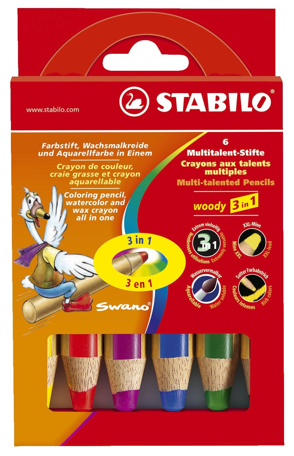 Stabilo woody 6 Farbstifte, extra dick