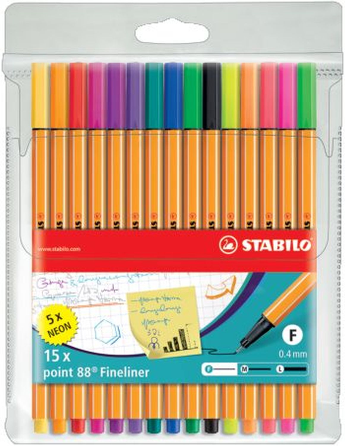 Stabilo point 88 Fineliner, 15er Packung