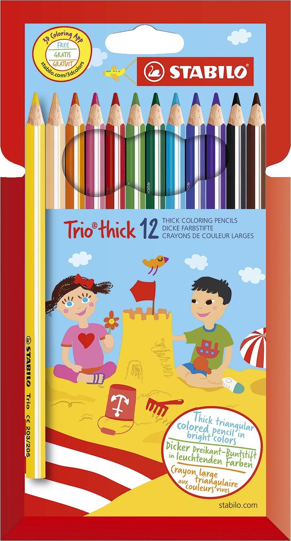 Stabilo Trio 12 Buntstifte, dick, dreikant